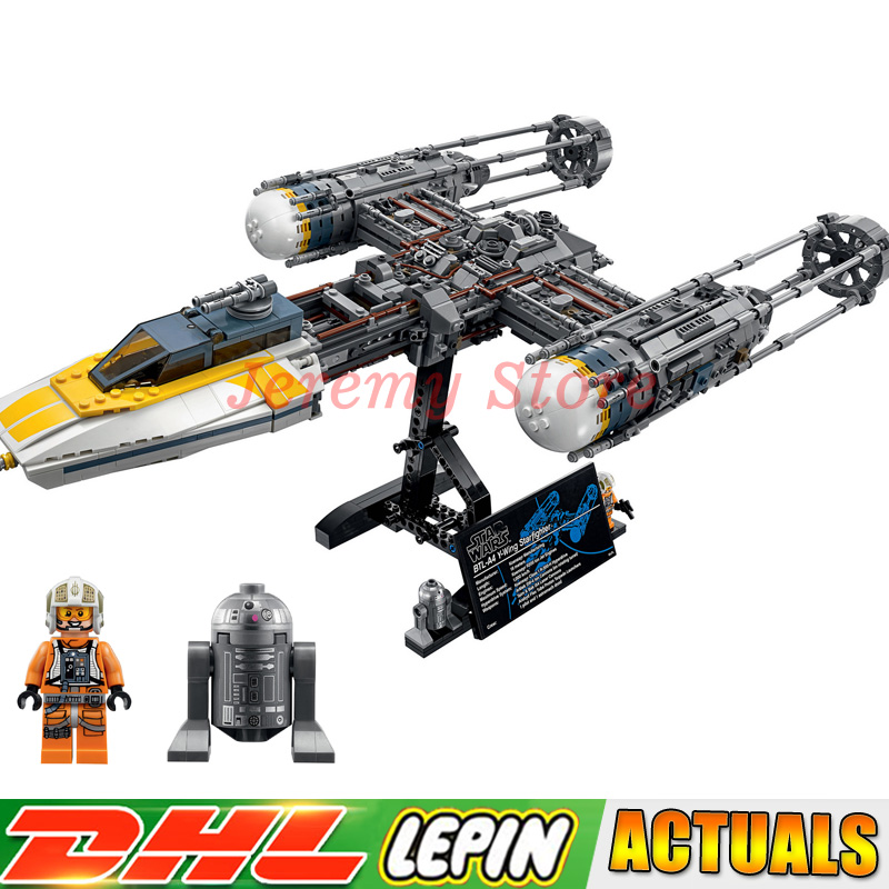 IN Stock Lepin 05143 Star Set Wars Y-wing Starfighter Set Building Blocks Bricks Toys for Gifts Compatible Legoingly 75181 722pcs lepin 05030 star wars vader tie advanced vs a wing starfighter 75150 building blocks compatible star wars brithday gifts