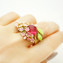 elegant women fashion wedding promise rings gold filled red purple stone flower charm finger ring party engagement rings elegant purple black gold filled cz ring gold colors flowers rings unique vintage party wedding for women christmas jewelry