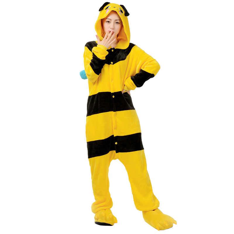 צהוב דבורת סרבל תינוקות פיג 'מה Kigurumi בעלי החיים Cosplay תלבושות ליל כל הקדושים משפחת פיג' מות נשים