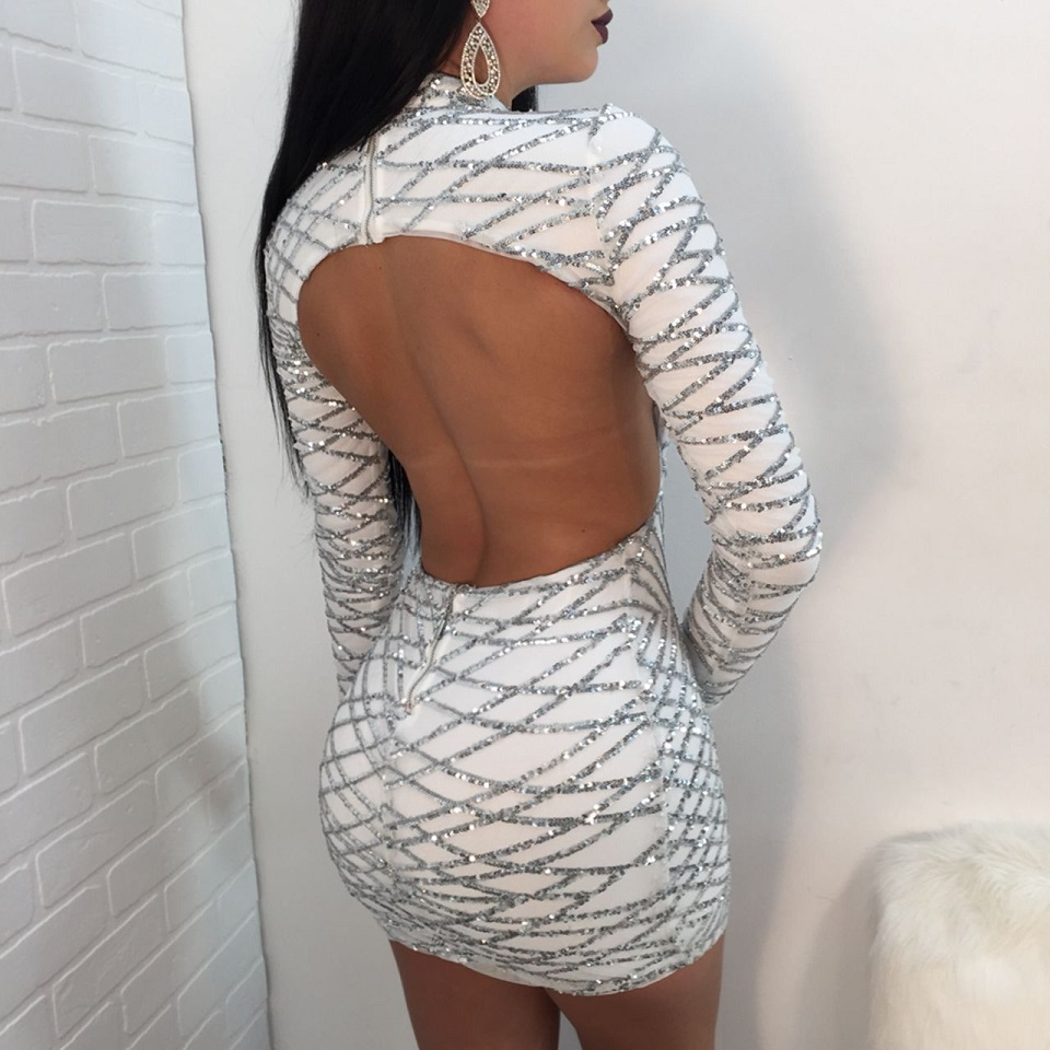 3b3633ce1ab11 Karlofea Spring Sexy Sequin Club Party Dress Back Open Birthday Mini Dress  Long Sleeve New Fashion Lady Beautiful Bodycon Dress-in Dresses from  Women's ...