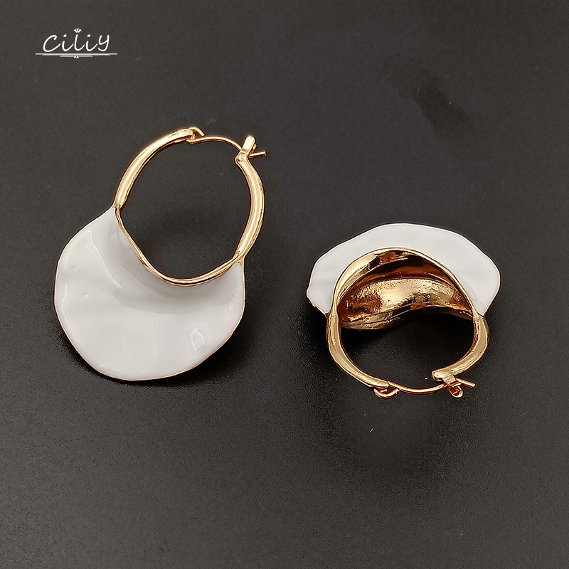 Ciliy Women Statement Earrings Personality High-End Exquisite Metal Dangle Earrings Trendy White Bag Golden Bag Earrings F88 ...