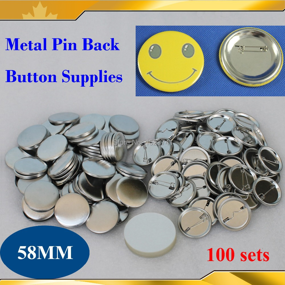 Office & School Supplies Labels, Indexes & Stamps 2-1/4 58mm 100 Sets New Professional All Steel Badge Button Maker Pin Back Metal Pinback Button Supply Materials Activating Blood Circulation And Strengthening Sinews And Bones
