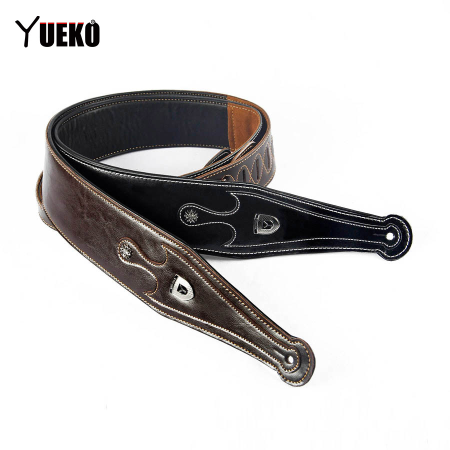 YUEKO Cowhide leather Guitar Strap High-quality & Comfortable Strap For Acoustic Electric Guitar Bass pylon guitar dirigible leather guitar strap adjustable fit acoustic electric guitar or bass