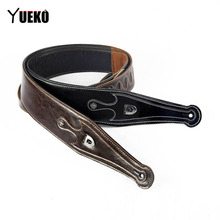 YUEKO Cowhide leather Guitar Strap High-quality & Comfortable guitar Strap For Acoustic Electric bass Guitar accessories parts цена в Москве и Питере