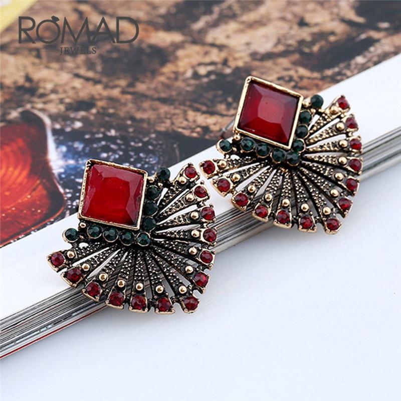 Romad New Personality Earring Simple Retro Fan Shaped Beads Red Crystal Earrings Jewelry Earrings For Women oorbellen R4