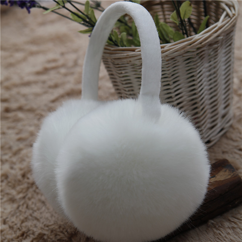 Women Faux Rabbit Fur Pearl Earmuffs ,Girls Cute Plush Fluffy Ear Warmer Muffs Lady Faux Fur Candy Color Earmuffs