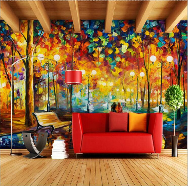Large 3D Wallpapers mural Abstract Modern Wall Painting Rain Tree Road Palette Knife Oil Painting Canvas Wall Home Decoration modern indians modular canvas wall painting 3pcs