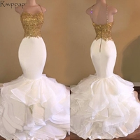 Long Prom Dresses 2018 Elegant Mermaid Style Spaghetti Strap Gold Top White Organza African Prom