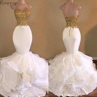 Long Prom Dresses 2018 Elegant Mermaid Style Spaghetti Strap Gold Top White Organza African Prom