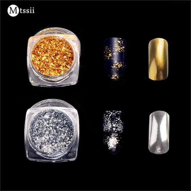 Mtssii 1BOX Aluminum Nail Flakes Sequins Powder Magic Mirror Glitters Gold Silver Red Colors Irregular Pigment Nail Decoration