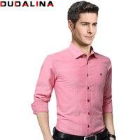 Dudalina Fashion Brand Clothing Mens Long Sleeve Shirt 2017 Slim Fit Shirt M 5XL Casual Shirt