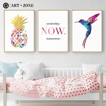 ART ZONE Cartoon Canvas Painting Bird Pineapple Letter White Simple Posters Library Book Bar Wall Art Decoration Pictures(China)