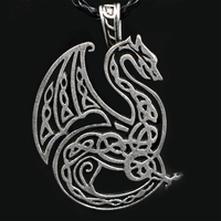 1pcs Antique Silver Celtics Dragon Pendant Handmade Large Viking Dragon Necklace For Men Jewelry XL 109