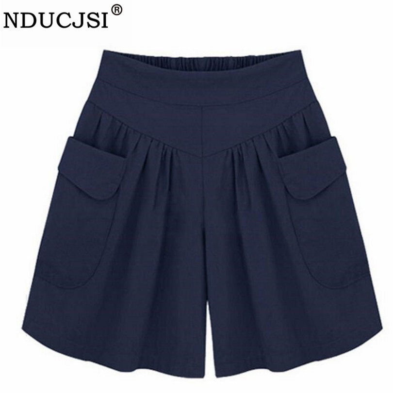 NDUCJSI Casual Shorts Women Summer Elastic Waist Short Pants Loose Black Navy Soft Cotton Femme Street 4XL Plus Size Shorts 5XL