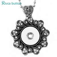 P00805  Rose Necklace Female's Sweater Fit 18mm Rivca Snap Button Retro Pendant Necklace Accessory Gifts Snap Button Jewelry