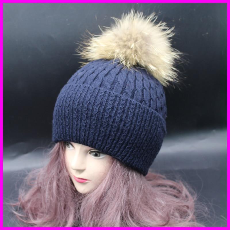 Women Beanie Hat With Raccoon Fur Pom poms Winter Knitted Mink Fur Hats Ski gorros Cap Hip Hop Skullies Beanies mink skullies beanies hats knitted hat women 5pcs lot 2299