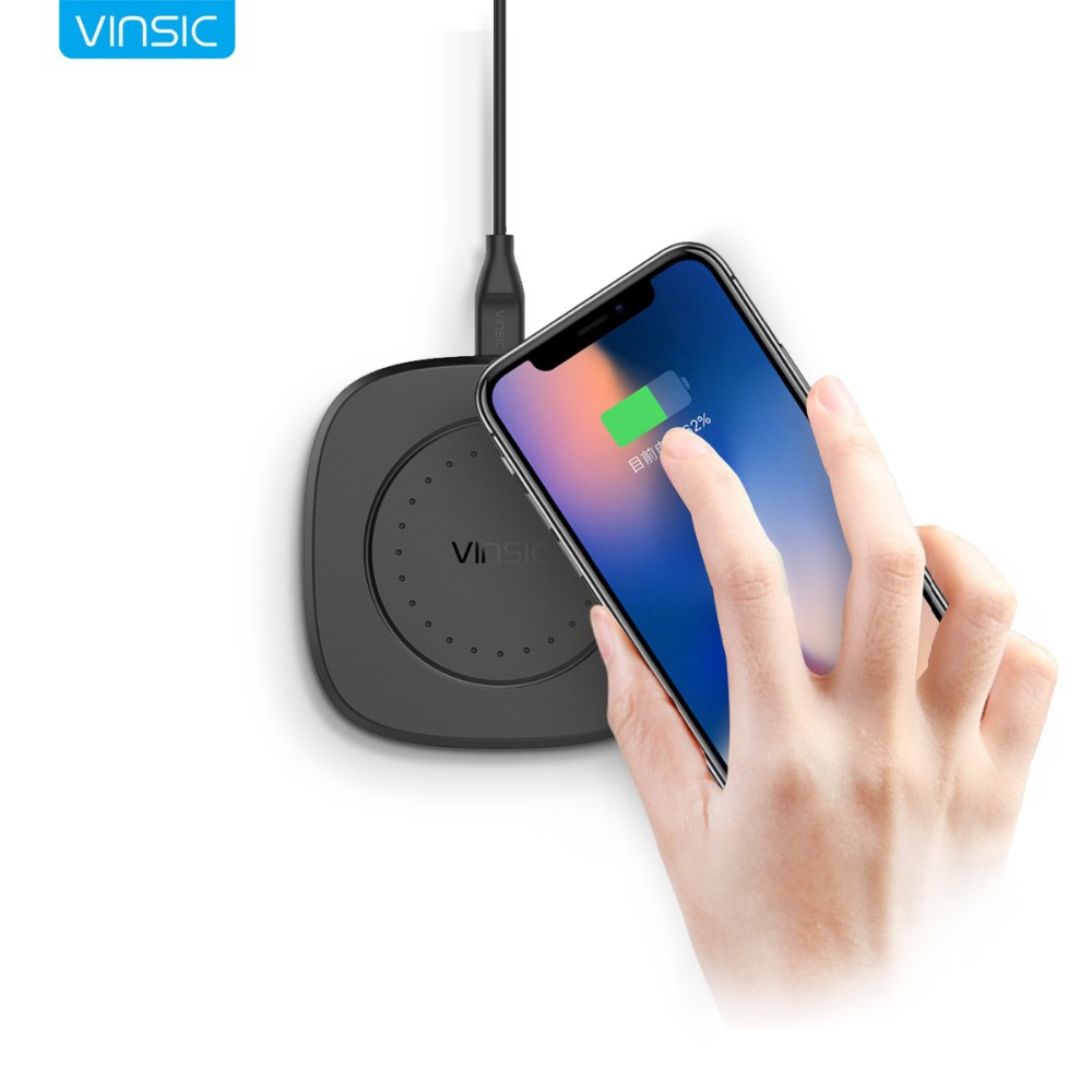 Vinsic 10W Qi Wireless Charger Fast Charge Wireless Charging Pad for iPhone X 8 8 Plus Samsung Galaxy S8 S7 S6 Note 6 Nexus 6