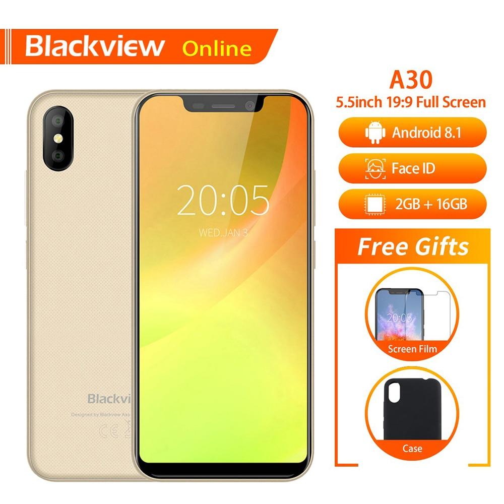 Blackview D'origine A30 2 GB + 16 GO 5.5 Smartphone 19:9 Plein Écran MTK6580A Quad-Core Android 8.1 double SIM Visage ID téléphone portable