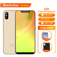 Blackview Original A30 2GB+16GB 5.5 Smartphone 19:9 Full Screen MTK6580A Quad Core Android 8.1 Dual SIM Face ID Mobile Phone