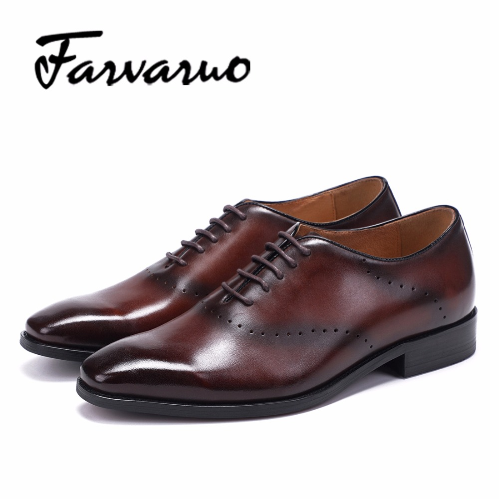 Farvarwo Leather Casual Oxford Business Shoes for Mens Lace-Up Pointed Toe Flats Formal Wedding Dress Shoes Black/Red Men Spring pjcmg fashion black red lace up pointed toe genuine leather business carved formal casual dress oxfords shoes for man