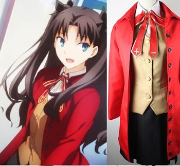 Disfraz de Cosplay de Fate Zero Stay Tohsaka Rin, conjunto de uniforme, abrigo, chaleco, camisa, falda y corbata