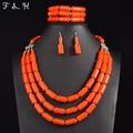 Boda nigeriano Joyería India Establece Conjuntos de Collar de la Declaración de Múltiples capas Collar de Perlas Pendiente de la Pulsera Joyería de Los Granos Africanos Set