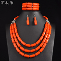 Nigerian Wedding Indian Jewelry Sets Multi layer Beads Necklace Earring Bracelet Sets Statement Collar African Beads Jewelry Set