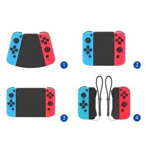 Image 1 - 5 ב 1 מחבר חבילה עבור Nintend מתג לשמחה קון Gamepad משחק בקר שמאל + ימין ABS יד גריפ מקרה ידית מחזיק כיסוי