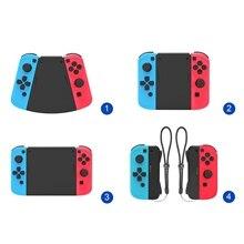 Paquete de conectores 5 en 1 para Nintendo Switch para Joy Con, Mando de juegos, Con la mano izquierda + de ABS derecho, funda de rejilla, soporte para el mando