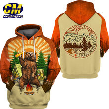 Divertido oso 3D Sudadera con capucha Cool sudadera Camping pulóver I HATE PEOPLE(China)