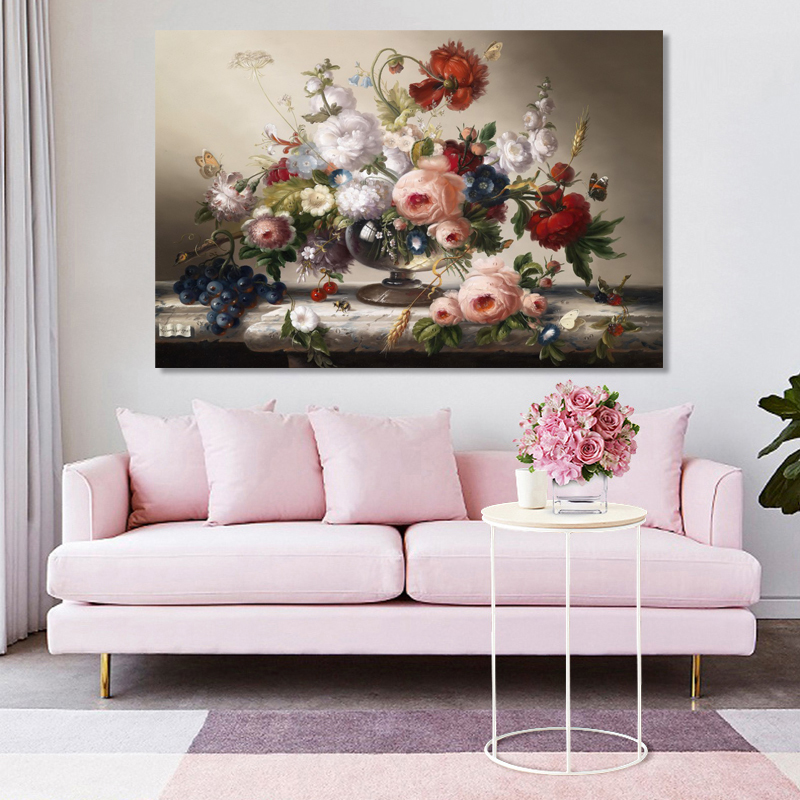 Canvas Art Prints Wall Painting Classic European Still Life Posters Flowers Butterfly and Bee Pictures for Living Room Decor in Painting Calligraphy from Home Garden
