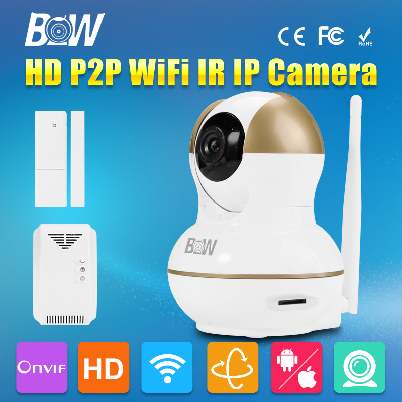 BW Onvif HD 720P Wireless IP Camera WiFi + Door Sensor Gas Detector Surveillance Security Camera Support  Android IOS bw wireless wifi door