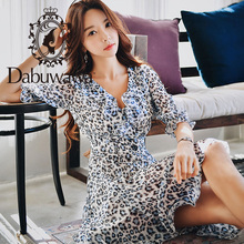 Dabuwawa Summer V-Neck Chiffon Print Dress for Girls Women 2019 New 3/4 Sleeve Ruffles A-Line Chic Swing Midi Dress DN1BDR038 цена 2017