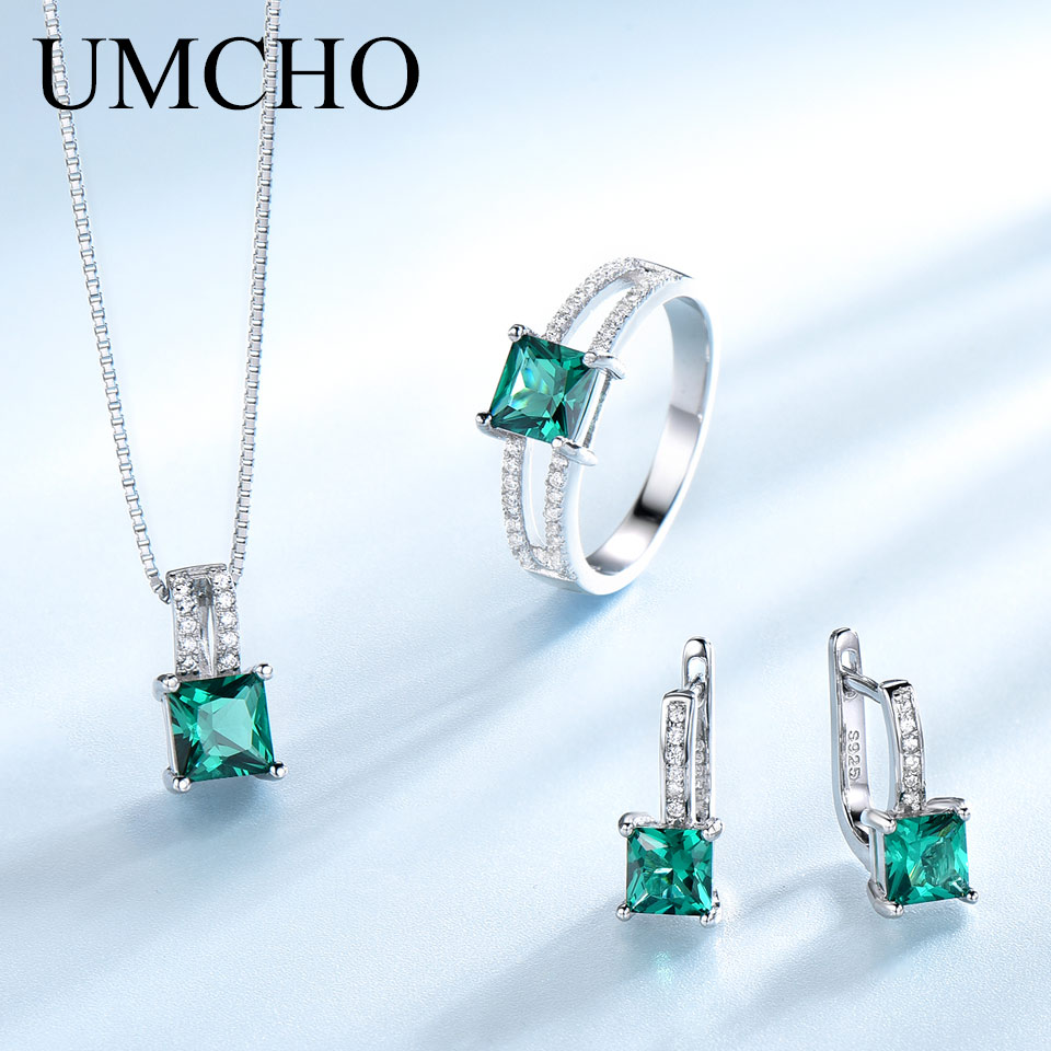 UMCHO Elegant 925 Sterling Silver Necklaces Rings Earrings Square Created Emerald Wedding Jewelry Sets For Women