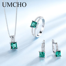 UMCHO Elegant 925 Sterling Silver Necklaces Rings Earrings Square Created Emerald Wedding Jewelry Sets For Women With Box Chain