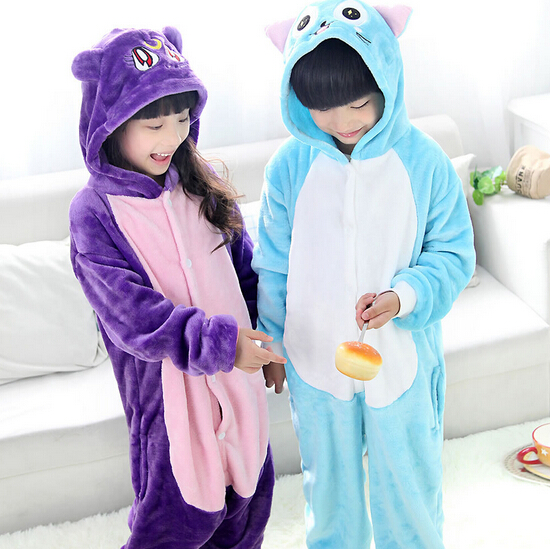 High Quality Wholesale Blue Purple Cat Flannel Hoodie Pajamas Costume Cosplay Animal Onesies Sleepwear For Boys Girls Kids