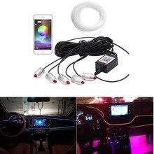 New 6M Sound Active RGB LED Car font b Interior b font Light Multicolor EL Neon
