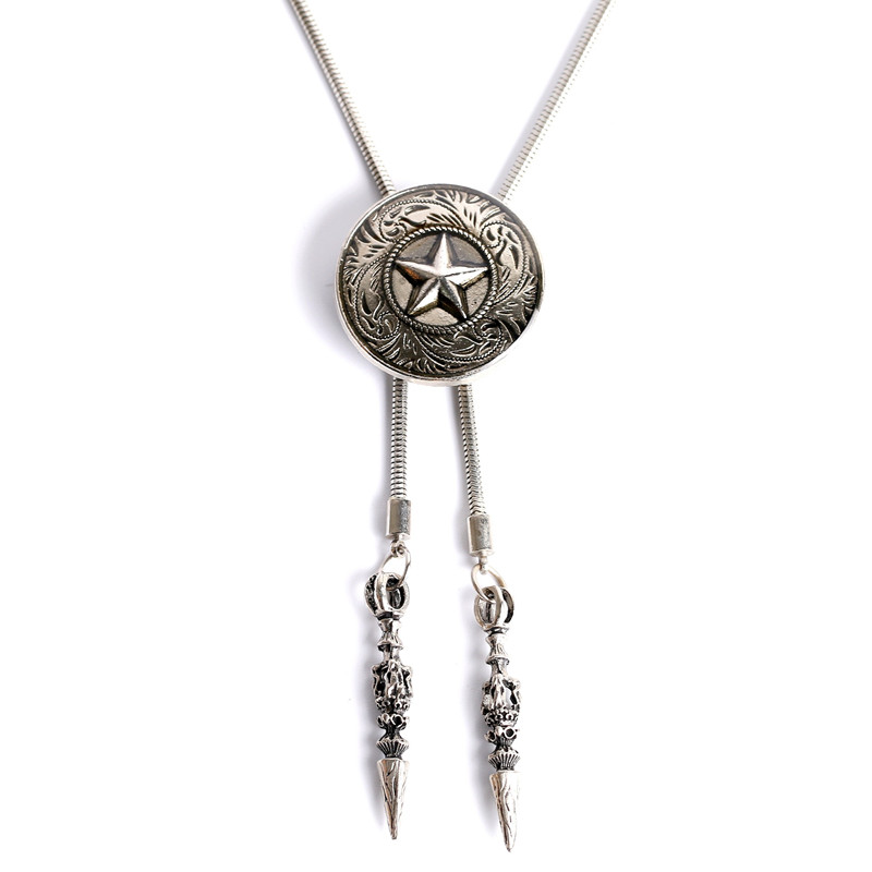 Fashion Man Jewelry Natural Alloy The Five-pointed Star Pendant Necklace And Bolo Bola Tie Star Pendant Men Jewelry
