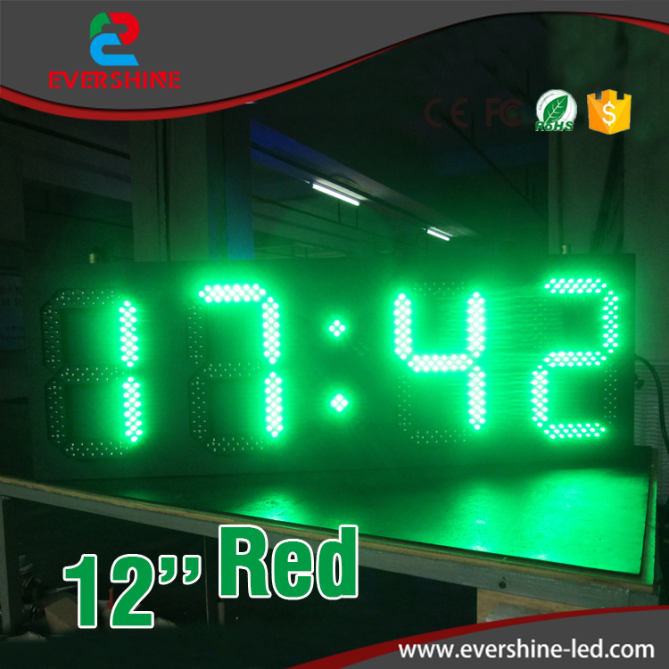 Outdoor green color p12 digital number led display board time temperature display led clocks грузовик пожарная автоцистерна 34613