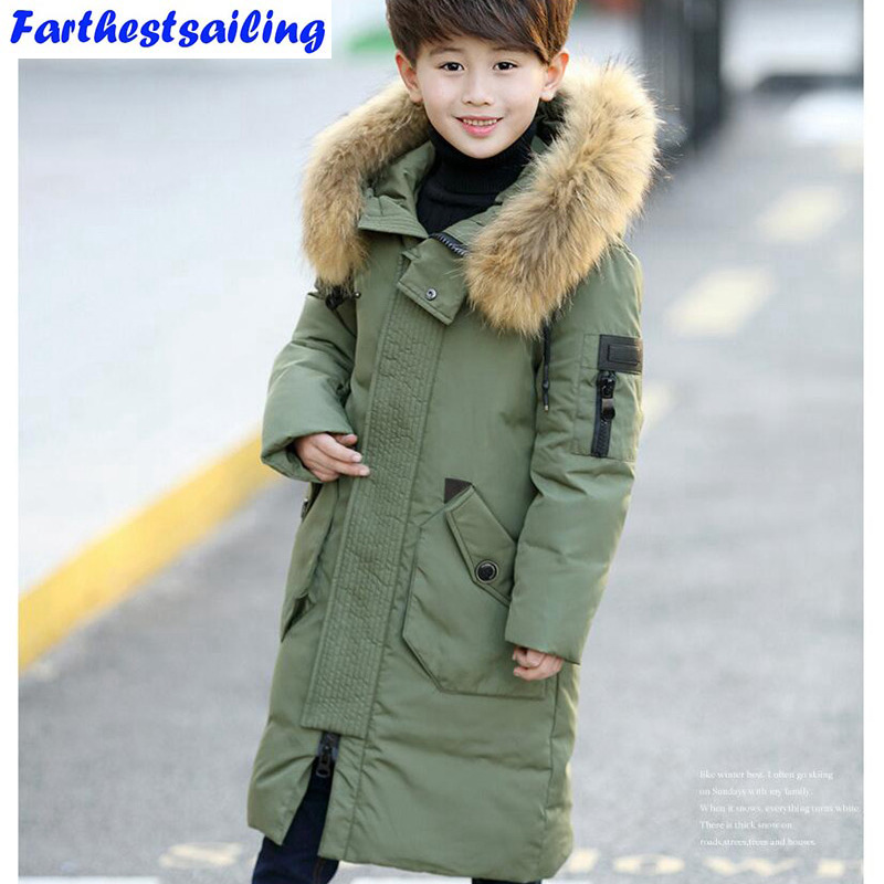 2017 Fashion Children's Down Jackets/coat winter fur Big boy Coat thick duck Down feather jacket Outerwear cold winter-40degree new arrival 2018 winter europe fashion women s duck down coat