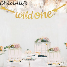 Chicinlife 1Set Gold Glitter Wild One Banner Happy Birthday Party Baby Shower First Sign Boy