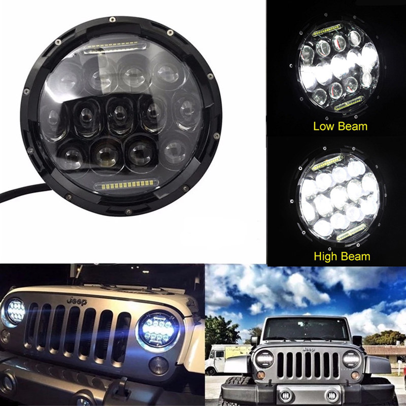 7 Round LED Headlight 75W Hi/ Lo Work Lamps DRL Fog Driving headlamp Fit For Jeep Wrangler TJ LJ JK CJ-7 CJ-8 Hummer H1 H2 pair 75w 7inch 5d headlight led h4 plug h13 drl hi lo beam for jeep jk tj cj hummer