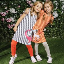 Girls Cotton Dress Striped Animal 2018 Brand Summer Princess Dress A-Line Tunic Vestidos Children Costume for Kids Dresses(China)