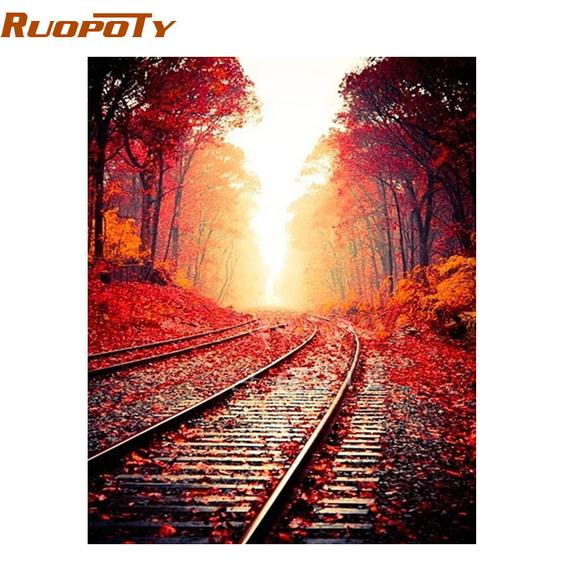 RUOPOTY Frame Railway DIY Painting By Numbers Modern Home Decor Wall Art Picture Handpainted Oil Painting For Home Decor 40x50cm