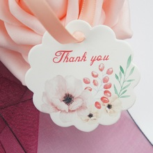 multi-use 50pcs thank you flower and seed design Scrapbooking decoration tags as wedding gift label DIY use
