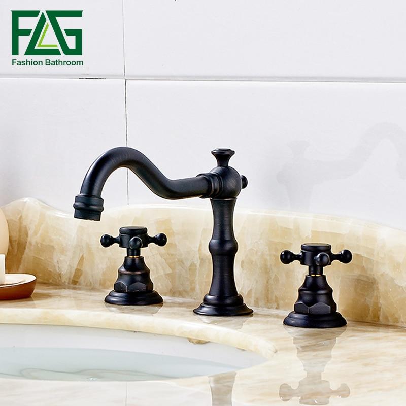 Deck Mounted Double Handle Black Bathroom Faucet Taps, Oil Rubbed Bronzed Basin Faucets 3 Hole grifos de lavabo