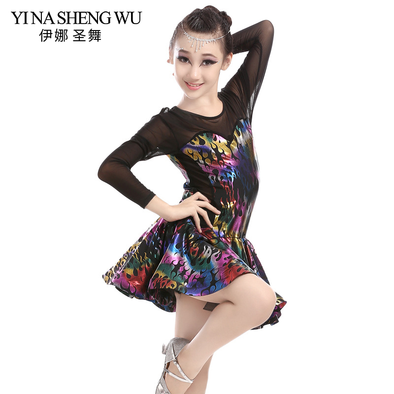 Newest Latin Dance Mesh Long Sleeve Sequin Bronzing Printing Ballroom Dresses Girls Kids Children Tango Salsa Latin Dance Dress
