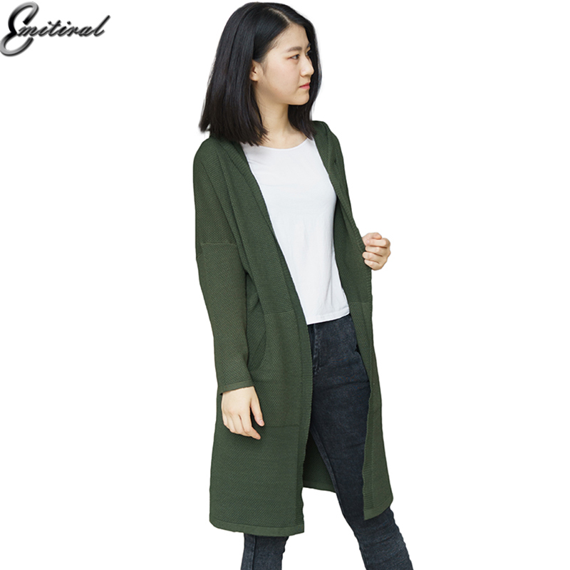 2017 Winter Autumn Hooded Long Knitted Women Cardigan Wool Loose Solid Sweater Pockets High Quality Batwing Sleeve Casual