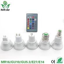 Lâmpada regulável de led rgb 5w e27, 85v-265v 110v 220v 16 cores mr16 gu5.3 e14 lâmpada led holofote 12v + controle remoto