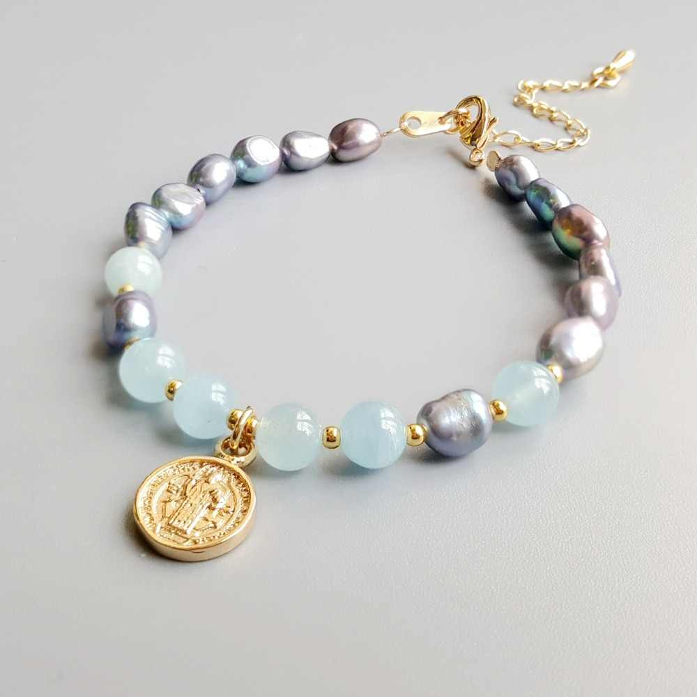 Lii Ji Real Aquamarine Nice Luster Freshwater Pearl Natural Stone Bracelet Delicate Jewelry For Child or Women